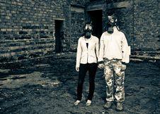 Free Romantic Couple With Gas Masks Stock Photography - 19553942