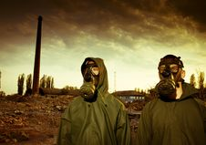 Free Two Men In Gas Masks Royalty Free Stock Photo - 19553965