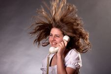 Free Woman With Old Phone Royalty Free Stock Image - 19554196