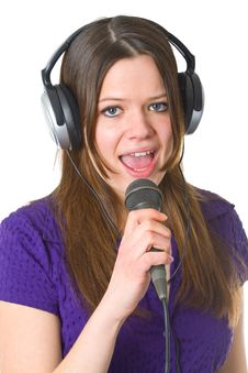 Free Beautiful Woman With Microphone Stock Photography - 19554782