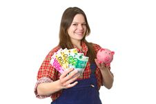 Craftswoman With Euro Banknotes Royalty Free Stock Image