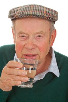 Male Senior Drinking Water Royalty Free Stock Image