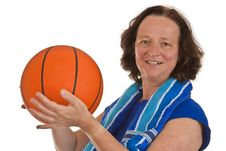 Free Middle Aged Woman With Basketball Stock Images - 19554924
