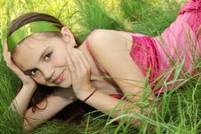 Free Girl In The Grass Royalty Free Stock Image - 19555246