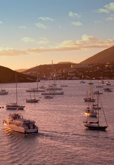 St. Thomas Harbor At Sunset Stock Photography