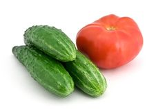 Free Three Cucumbers And Tomato Stock Images - 19555754