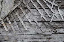 Free Old Wooden Wall With Plaster Stock Image - 19555761