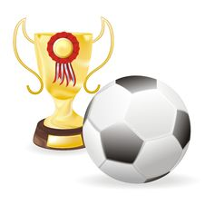 Free Football And Golden Cup Royalty Free Stock Photos - 19555918