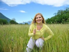 Free Pretty Summer Woman On Green Field In Alps. Stock Photo - 19555960