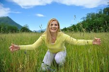 Free Pretty Summer Woman On Green Field In Alps. Stock Photography - 19556052
