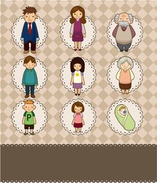 Free Cartoon Family Card Royalty Free Stock Images - 19559999