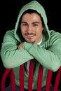 Free Man Green Hoodie Smile Stock Photo - 19566110