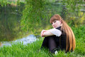 Free Single Woman Relaxing At The Park Stock Photos - 19568383