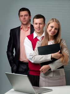 Free Two Men And Woman Working Royalty Free Stock Photography - 19560397