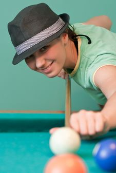 Free Young Smiling Woman Playing Billiards Stock Photos - 19561013