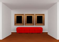 Free Gallery With Red Sofa And Ornate Frames Royalty Free Stock Photography - 19561137