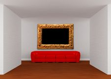 Free Gallery With Red Sofa Royalty Free Stock Photography - 19561177