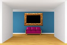 Free Gallery With Purple Couch And Ornate Frame Royalty Free Stock Photos - 19561268