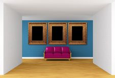 Free Gallery S Hall With Purple Couch Royalty Free Stock Photography - 19561277