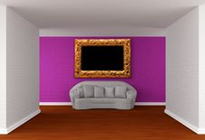 Free Empty Gallery S Hall With White Sofa Royalty Free Stock Image - 19561516