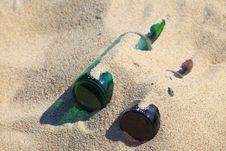 Free Bottle On Beach Sand Stock Images - 19561524