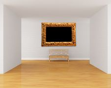 Gallery S Hall With Bench Royalty Free Stock Photo