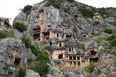 Free Antique Tombs In Myra Town. Turkey. Royalty Free Stock Photography - 19561677