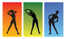 Fitness Girls Silhouettes Royalty Free Stock Images