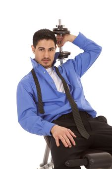 Business Man Weights Over Shoulder Stock Image