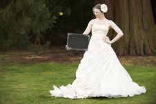 Bride And Blank Board Royalty Free Stock Photo