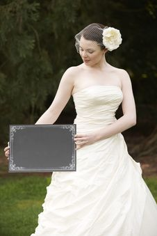 Free Bride And Blank Board Royalty Free Stock Photo - 19566015