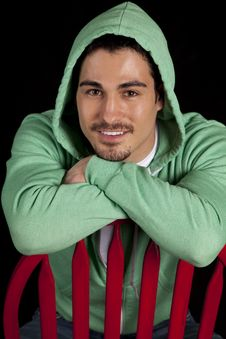 Free Man Green Hoodie Smile Stock Photo - 19566110