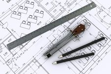 Free Compass, Ruler And Pencil On Architectural Drawing Royalty Free Stock Photo - 19566525