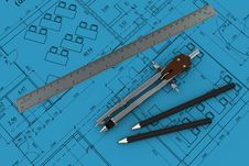 Free Compass, Ruler And Pencil On Architectural Drawing Stock Photos - 19566553