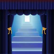 Blue Curtains With Staircase Royalty Free Stock Images