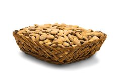 Almonds In Pottle. Isolated Stock Photography