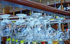 Free Goblets Hanging On Rack Of The Bar Stock Photo - 19567410