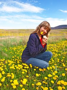 Free Beautiful Girl On A Dandelions Field Royalty Free Stock Images - 19567489