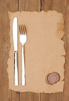 Free Knife And Fork On Old Paper Royalty Free Stock Photos - 19568238