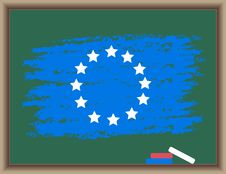 Free Flag Of Europe On A Blackboard Royalty Free Stock Images - 19568659