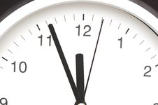 Clock Showing Five Minutes To Noon Royalty Free Stock Images
