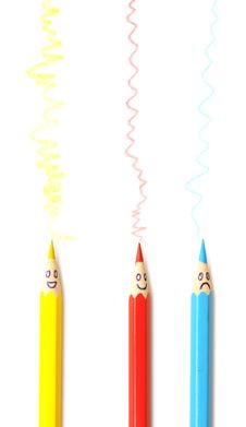 Free Happy Group Of Pencil Faces Stock Photography - 19569062