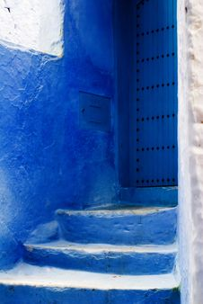 Free Chefchaouen Blue Stairs Stock Photo - 19569840