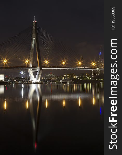 Anzac bridge at night time, Sydney Australia