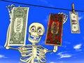Free Money Laundering - Cartoon Of Skeleton With Dollar Stock Photo - 19573460