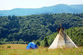 Free Mountain View With Tent And Teepee Stock Images - 19574824