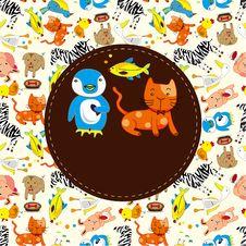 Free Cartoon Animal Card Royalty Free Stock Photos - 19570998