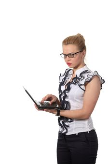 Free Angry Businesswoman Use Notebook Royalty Free Stock Photos - 19572208