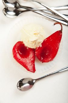 Free Poached Pears With Ice Cream Royalty Free Stock Photo - 19572305
