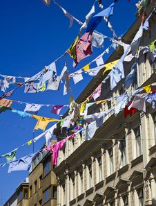 Free Colored Shirts On A Clothesline With Building Royalty Free Stock Image - 19572526